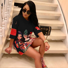 Cartoon Print Hip Hop T Shirt Dress Women Summer O-neck Short Sleeve Loose Mini Day Dress Ladies Casual Shift Dresses Plus Size casual loose bag hip long section t shirt women 2019 new summer short sleeve o neck ladies night club female mini dress t shirt