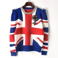 Runway Designer Pullover 2018 Autumn Winter Sweater Women British Flag Jacquard Jersey Shrugged Badge Knit Jumper Tops Cllthes