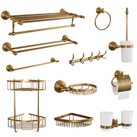 Solid brass bathroom accessories deluxe antique security armrest wall hanging bathroom hardware suite products J309