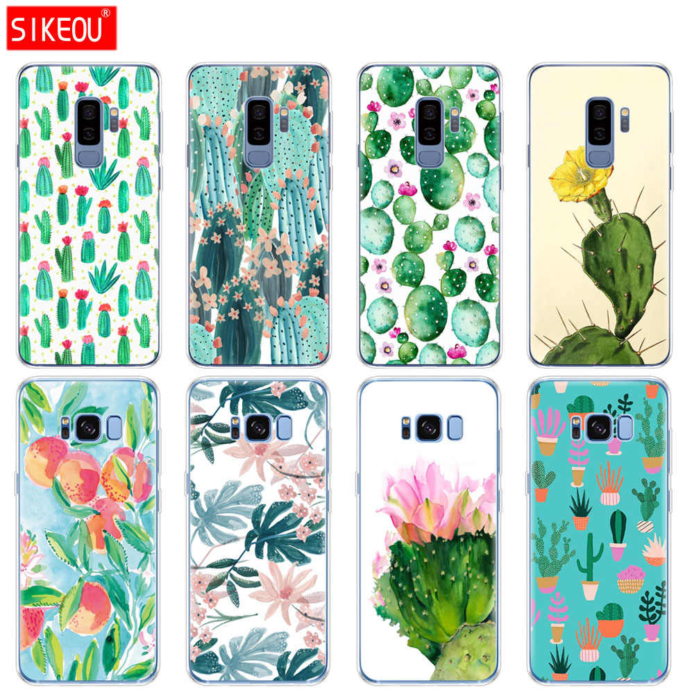 silicone case for Samsung Galaxy S9 S8 S7 S6 edge S5 S4 S3 PLUS phone cover Green Cactus flower design