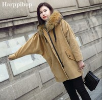 New Brand Fur Coat Coat Winter Jacket Lady Corduroy Large Real Raccoon Fur Collar Warm Natural