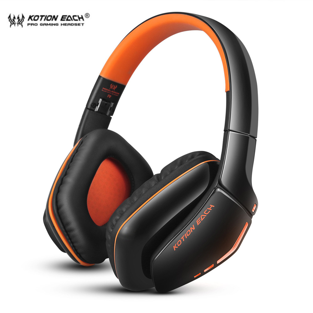 KOTION EACH B3506 Foldable Bluetooth Headphones Game Headsets with Mic Wireless Earphone for PS4 Computer Phone Gamer