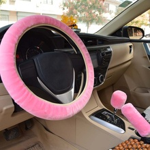 DIY рулевое колесо Чехлы/чрезвычайно мягкая плюшевая оплетка на рулевом колесе теплая мягкая плюшевая крышка автомобиля аксессуары для интерьера