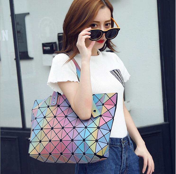 Maelove Rainbow Bag 2017 New Fashion Style Women bao bao bags Geometric Tote Fold Famous logo Bags  rainbow shoulder bag