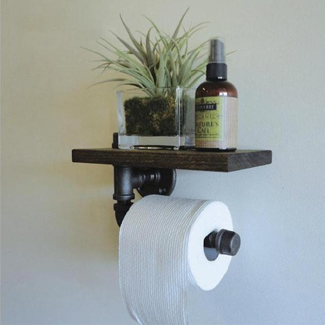 LanLan Wall Mounted Bathroom Shelf, Rustic Style Pipe Design Wood ...