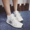 2016 New Design Fashion High Top Shoes Women Leather Casual Student Shoes Side Zipper White Lace Square Toe Ladies Shoes