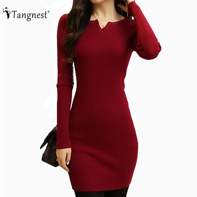 TANGNEST Mujeres Sexy Vestido de Suéter 2016 Otoño Invierno de La Manera V Cuello Bodycon Básico Mini Vestido de Color Sólido Punto WZQ208