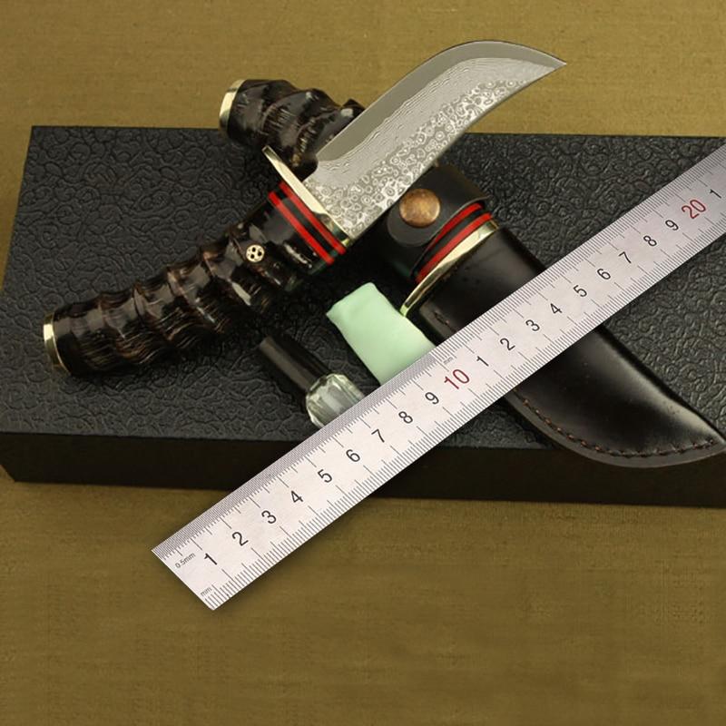 купить Free shipping Damascus steel kitchen knife Camping Hunting Tactical Survival Knife Fixed Blade sheep Angle Handle Sharp Edge по цене 3959.49 рублей