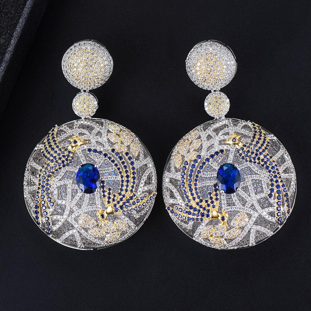 Missvikki 7 couleurs romantique avec motif de phénix danse pendentif rond boucles d'oreilles en argent bijoux AAA zircon cubique attrayant - 5