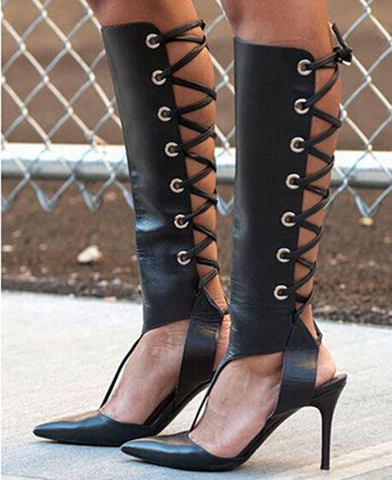 2015 new fashion pointed toe lace up cut-outs gladiator sandal shoes black leather thin heel knee high summer boots цена