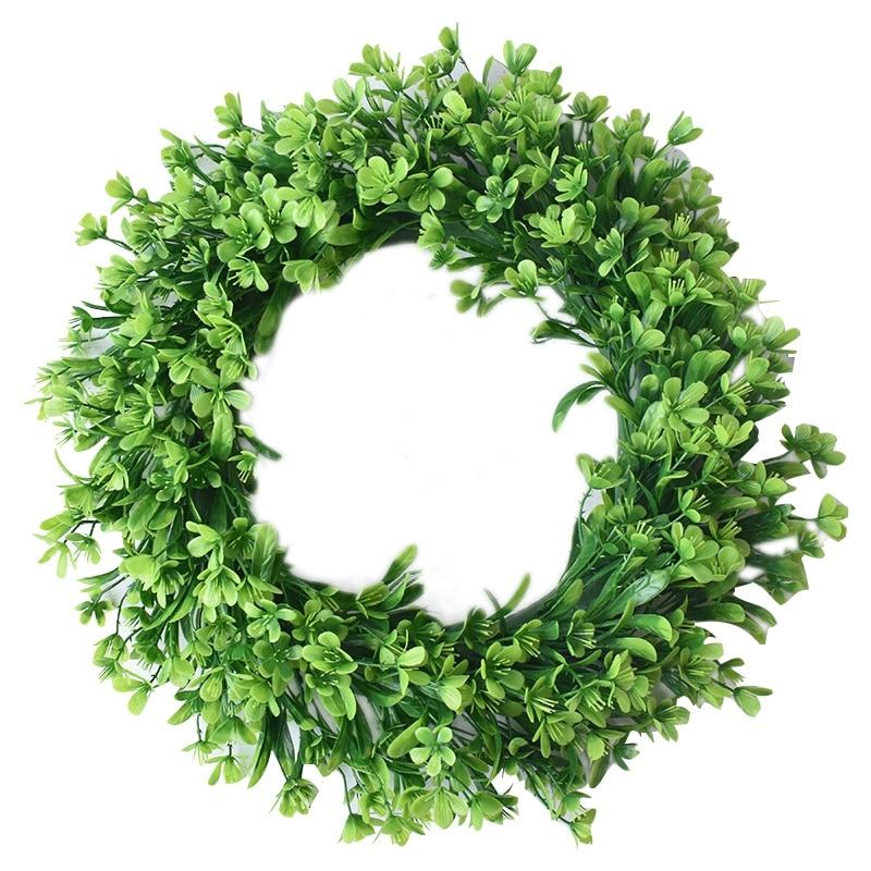 Hot Green Artificial Leaf Wreath - 42Cm Simulation Clover Outdoor Front Door Wall Window Decorati