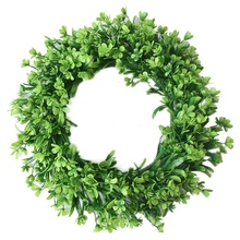 Hot Green Artificial Leaf Wreath - 42Cm Simulation Clover Outdoor Front Door Wall Window Decorati