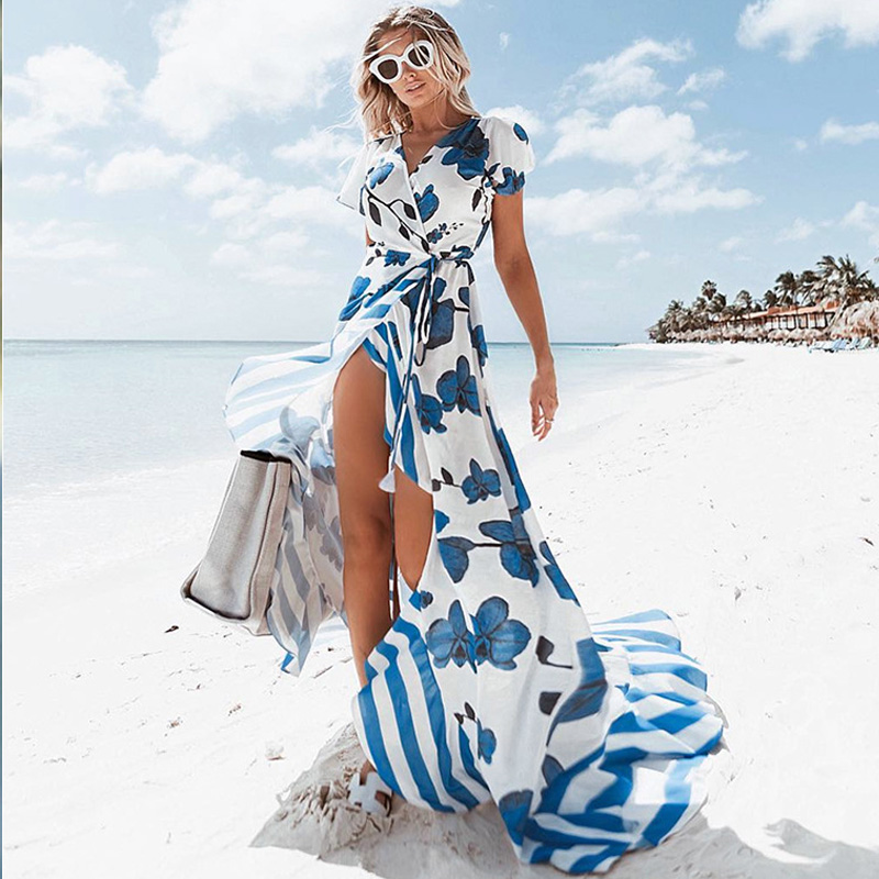 Summer Dress Beach Printed Maxi Womens Clothing 2018 Dress Elegant Short Sleeve Cut Out Chiffon Sexy Female Long Dresses