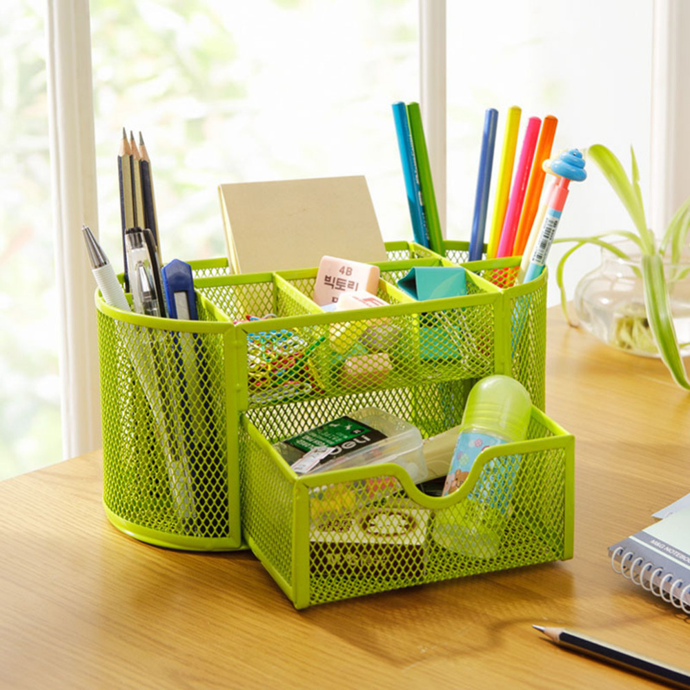 Multifuction Desk Organizer Office 9 Cells Metal Mesh Desktop Pencil Pen Holder Study Storage Stationery Holders 4 Colors