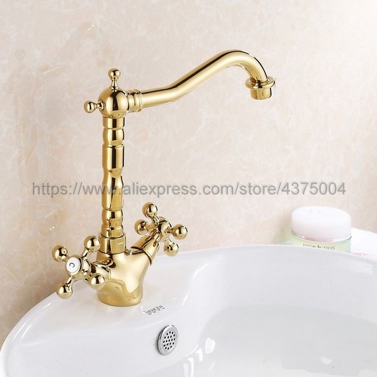 Polished Gold Bathroom Sink Faucet Basin Mixer Tap Double Cross Head Handle Single Hole Hot and Cold Water Nsf096 in Basin Faucets from Home Improvement