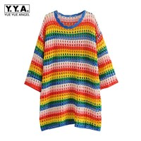 2019 New Early Autumn Harajuke Rainbow Womens Pullover Hand Knitted V Neck Female Sweater Mesh Loose Fit Lady Long Jumper Dress