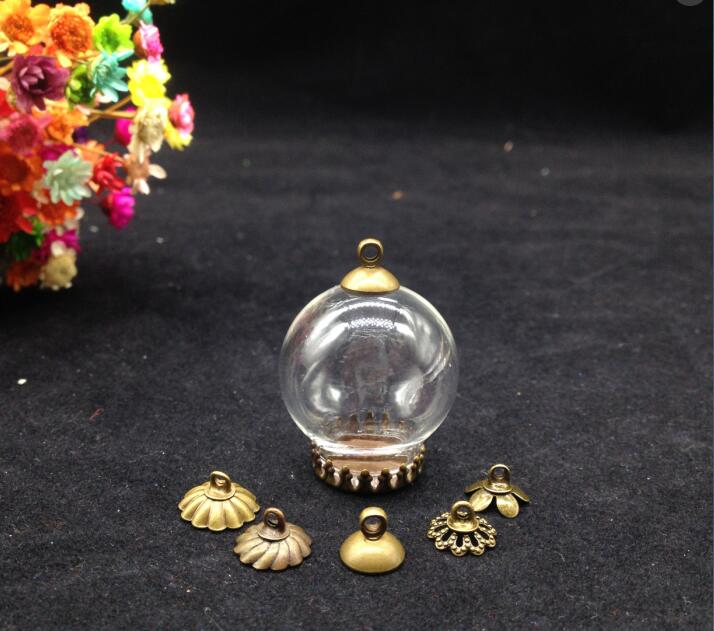 5pcss 25 15mm bronze plated glass globe crown base metal cap set glass globe set glass