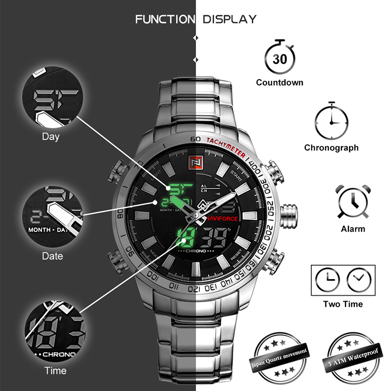 NAVIFORCE Top Brand Men Military Sport Watches Mens LED Analog Digital Watch Male Army Stainless Quartz Clock Relogio Masculino in Quartz Watches from Watches