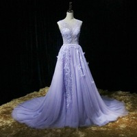 Angel married Evening Dresses luxury Violet prom dress formal pary dress tulle women pageant gown 2018 vestido de festa
