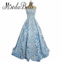Modabelle Womens Avondjurken Blauw Satijn Lange Print Patroon Speciale Gelegenheid Jurken 2017 Dubai Elegante Bloemen Prom Dress