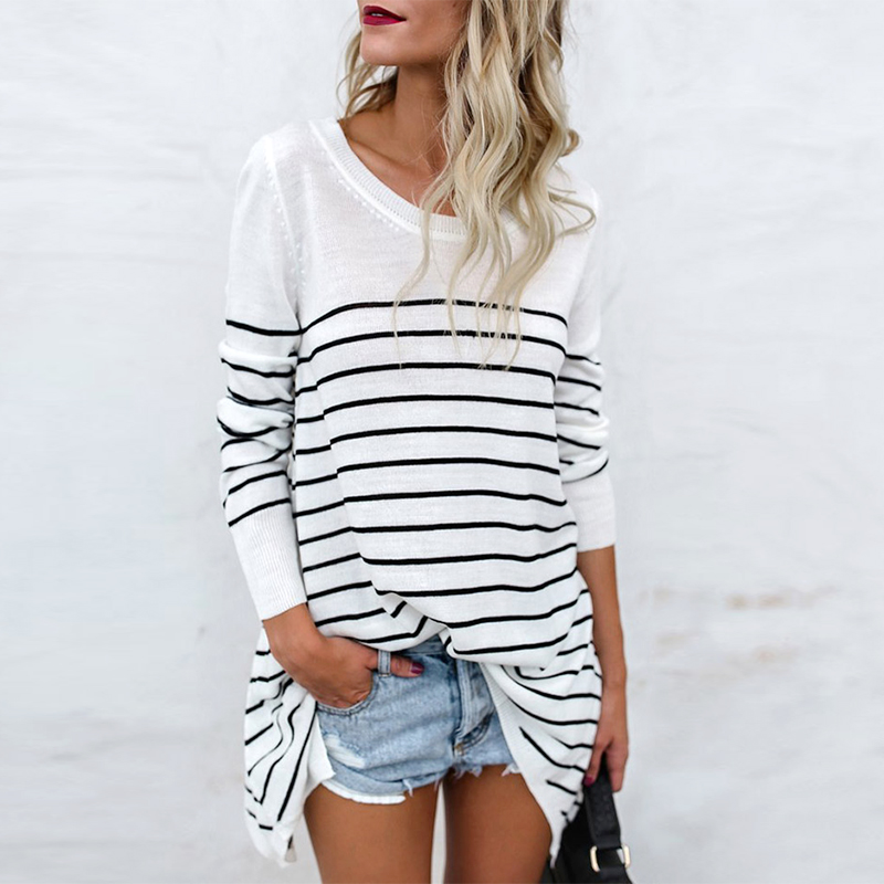 2018 Autumn Fashion Oversized Striped Cotton T Shirt Women Casual Long Sleeve T-Shirt Woma