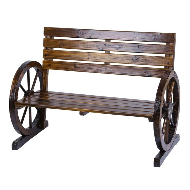 Patio Garden Park Wooden Wagon Wheel Bench Rustic Wood Design Outdoor Furniture For Home Decoration