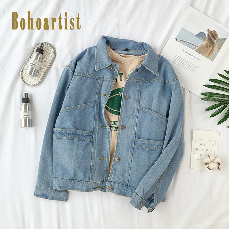 Bohoartist Women Denim   Jacket   Winter Blue Single Breasted   Basic   Coats 2019 Fashion Loose Bohemian Chic Girl Jeans   Jacket   Women