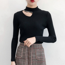 купить 2019 Fashion Autumn Winter Turtleneck Sweater Long Sleeve Cut Out Solid Pullover Sweater Women Clothes One Shoulder Casual Top онлайн