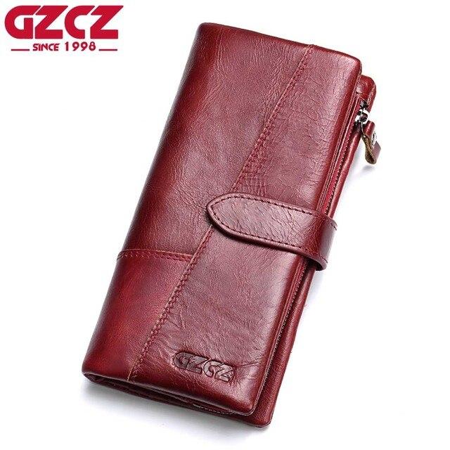 dc8e8700a482a4 GZCZ Echtem Leder Frauen Brieftasche Dame Lange Weibliche Geldbörse Klemme  Für Geld Kupplung Handliche Portomonee Rfid