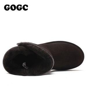 Image 4 - Gogc 100% Wol Echt Leer Winter Laarzen Vrouwen Warme Winter Laarzen Met Bont Voor Dames Ontwerp Enkellaars Voor Vrouwen g9838