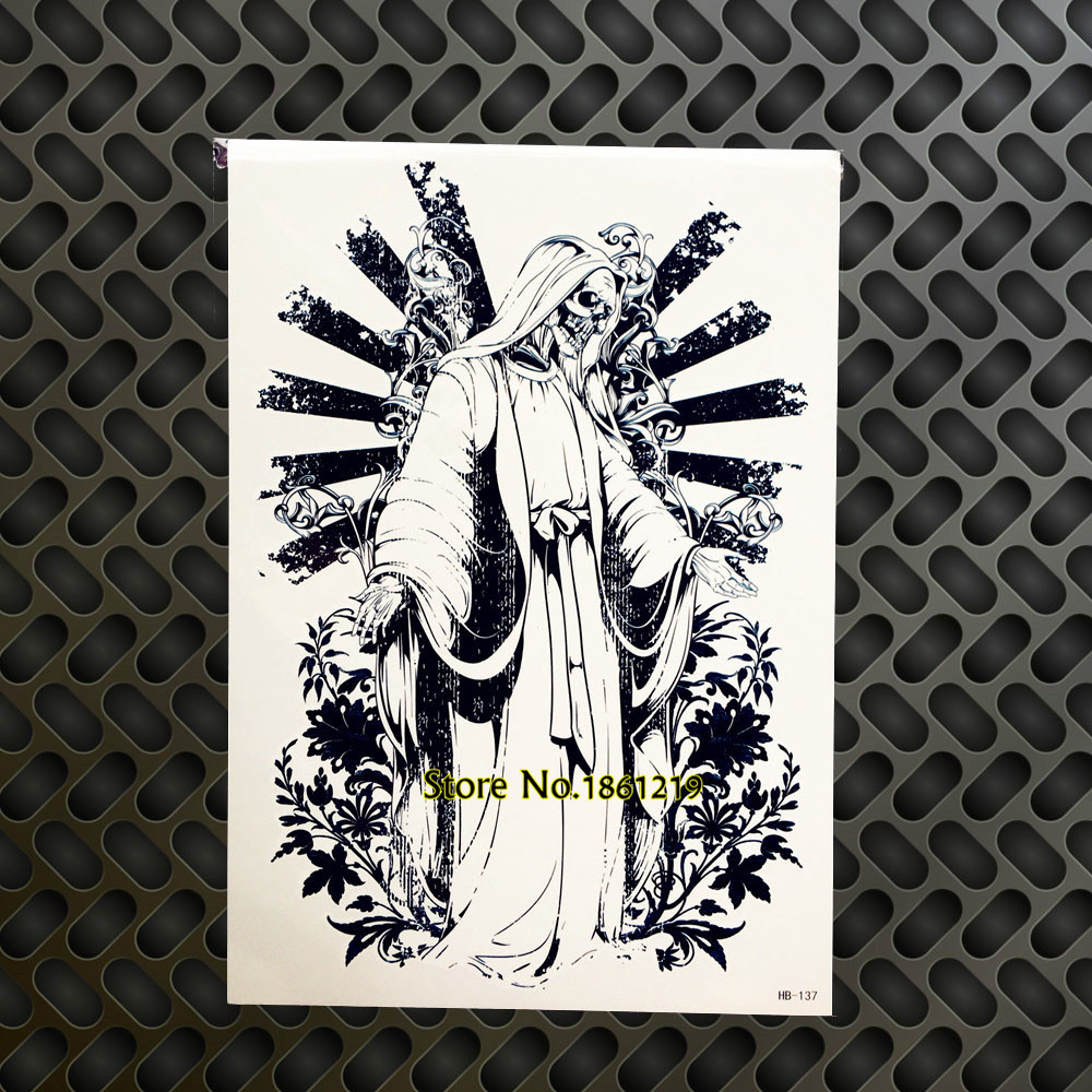 Trendy Death Skull Devil Jesus Design Arm Tattoo Sleeve Waterproof Body Leg Art Temporary Tattoo Stickers For Men Women GHB-137