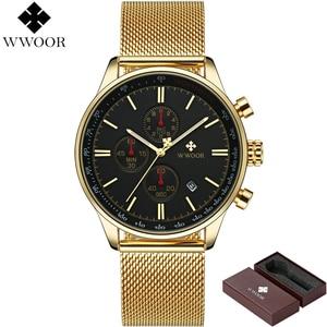 Image 2 - Wwoor ยี่ห้อ Luxury Mens นาฬิกา Chronograph กันน้ำสแตนเลสกีฬาผู้ชายนาฬิกาข้อมือนาฬิกาควอตซ์ชายนาฬิกา