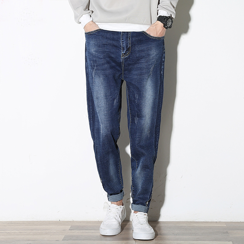 Unique Design Male Letter Plus Size Jeans Washed Casual Loose Men Harem Pants Denim Big All Match Blue HQ Trousers MK0138