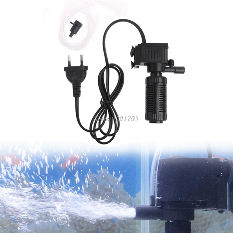 (szrandy)Mini 3 in 1 Aquarium Internal Filter Fish Tank Submersible Pump Spray EU APR21_30