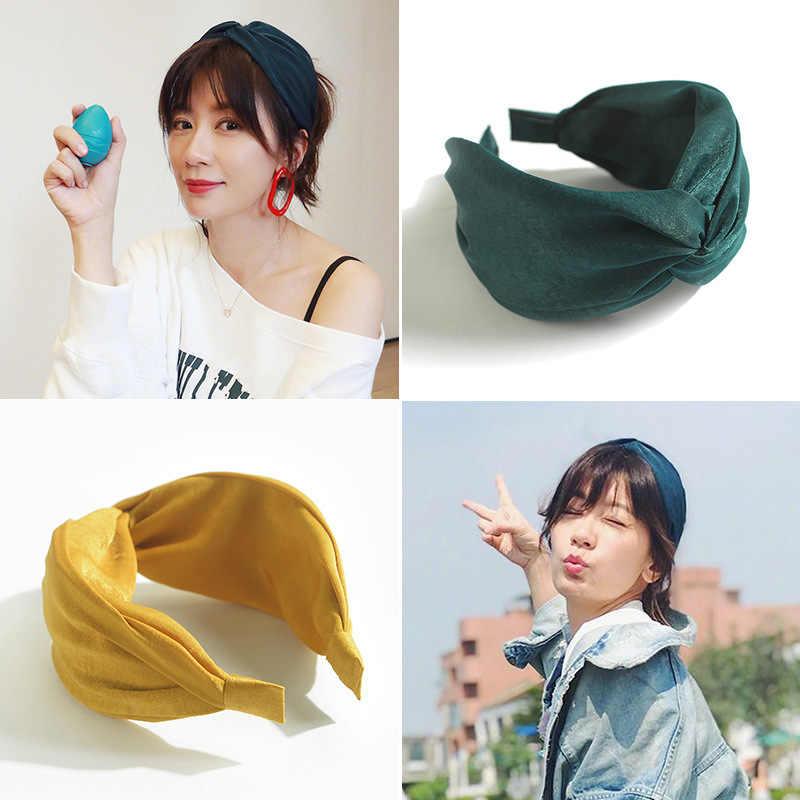 AWAYTR damska opaska solidna Twist Hairband Bow Knot krzyżowe wiązanie tkaniny Headwrap opaska do włosów obręcz nakrycia głowy akcesoria do włosów