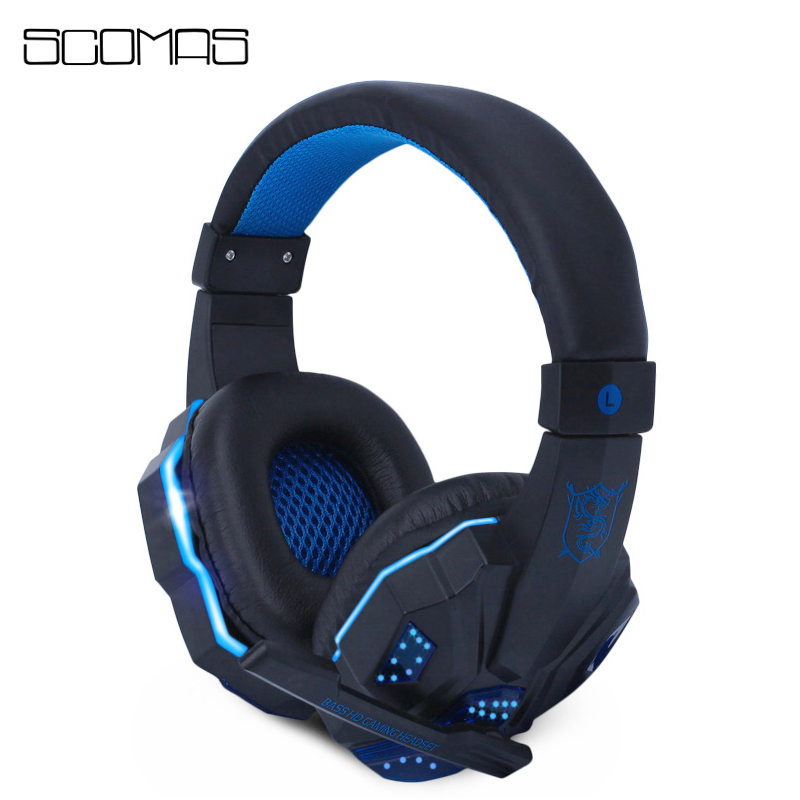 SCOMAS Gaming Headset 3.5mm USB LED Light Noise Isolation Gaming Headphones Stereo Sound with Mic for Computer PC Laptop Gamer 2016 pro skype gaming stereo headphones headset earphone mic pc computer laptop sa 708 gaming headphones