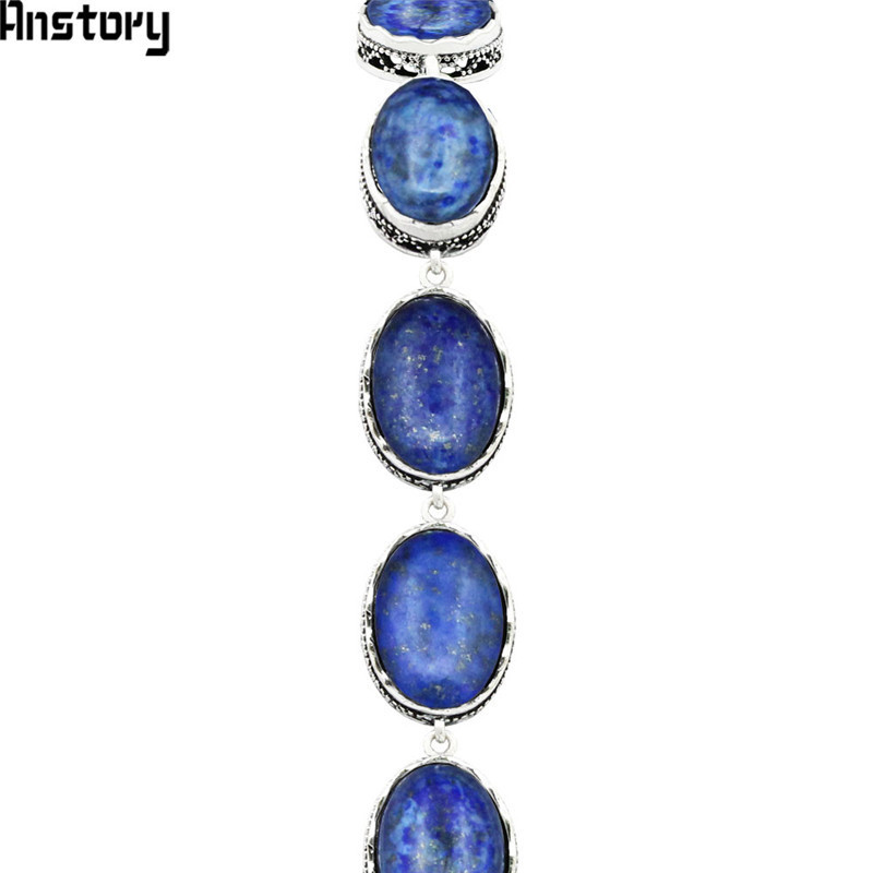 Natural Oval Lapis Lazuli Bracelet For Women Vintage Antique Silver Plated Flower Pendant Fashion Jewelry Party Gift TB276 fashion natural stone 13x18mm lovely oval lapis lazuli stones beads chain necklace for women party wedding jewelry 18inch my5179
