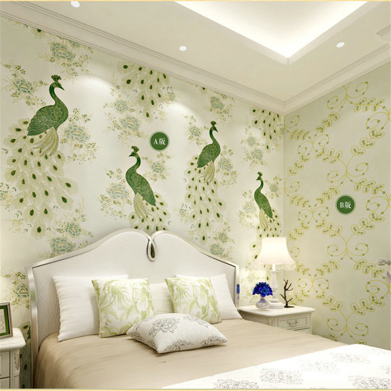 ФОТО beibehang papel de parede Southeast luxury peacock embroidery simulation Figure mosaic wallpaper bedroom living room with AB