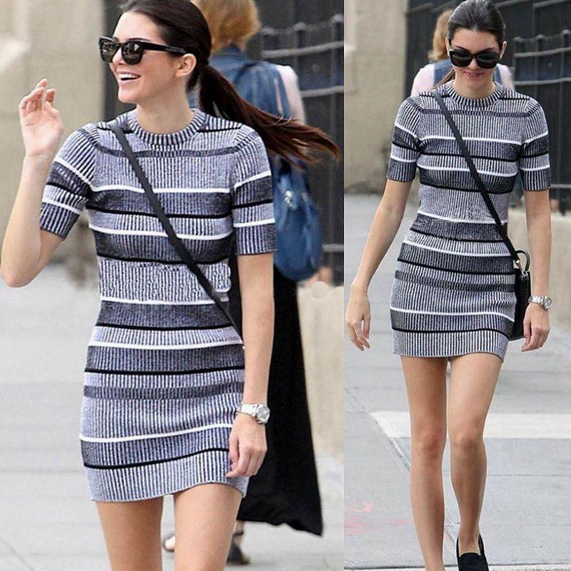 Kendall Jenner Short Dress: 2019 Spring Kendall Jenner Dress Elegant Grey Stripe