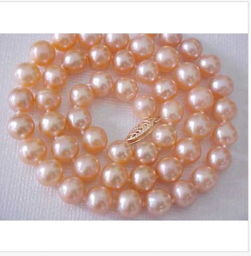 GORGEOUS9-10mm-AAA-SOUTH-SEA-GOLD-PINK-PEARL-NECKLACE-18INCH-->free shippingGORGEOUS9-10mm-AAA-SOUTH-SEA-GOLD-PINK-PEARL-NECKLACE-18INCH-->free shipping