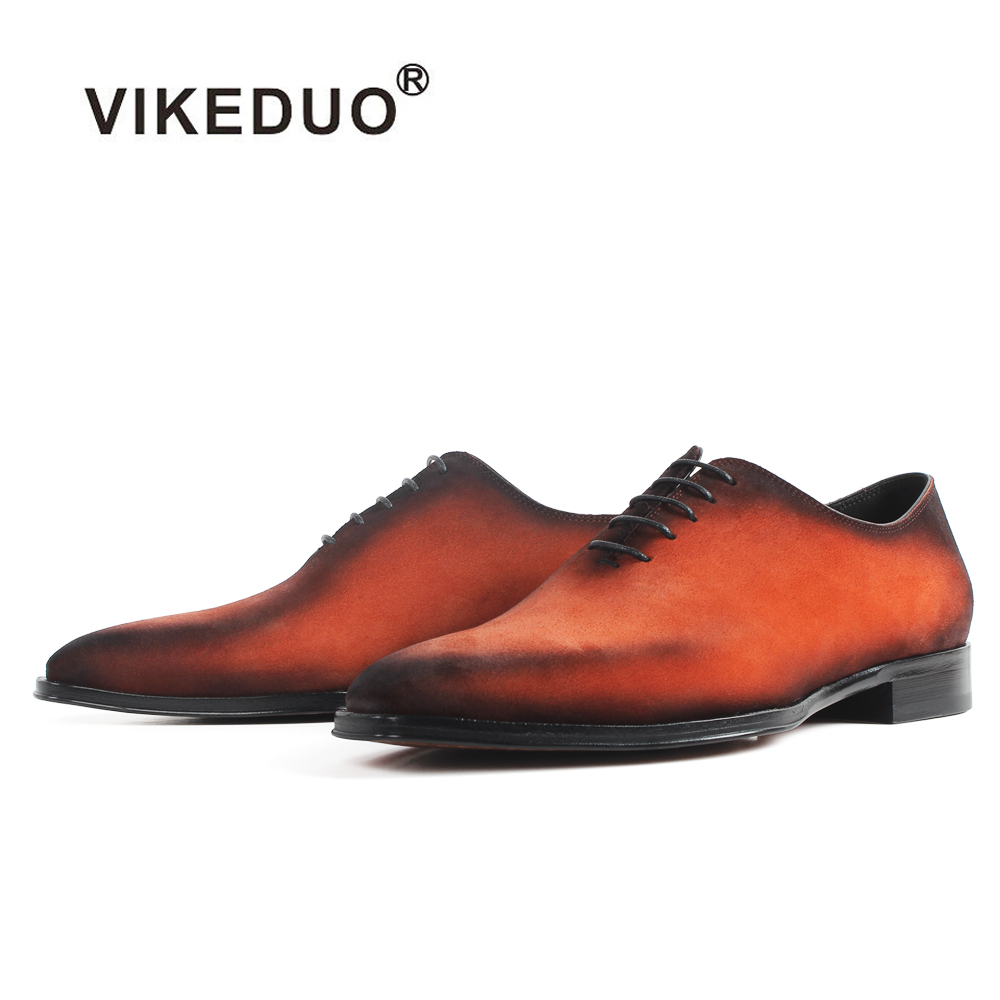 VIKEDUO Hot Men's Suede Oxford Shoes Orange Patina Handmade Formal Dress Shoes Lace-up Bespoke Square Toe Shoes Zapato Hombre