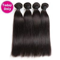 Today Only Peruvian Straight Hair 100 Human Hair Weave Bundles Non Remy Hair Extensions Natural Black