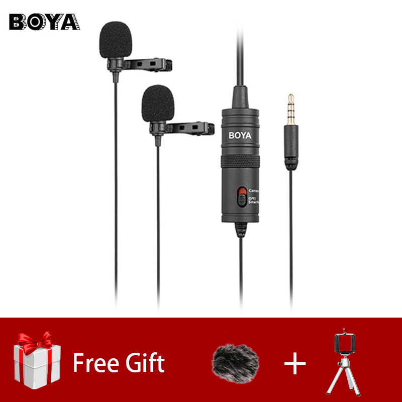 BOYA BY-M1DM Dual Omnidirectional Lavalier Microphone Clip-on Lapel Mic for Iphone Smartphones Cameras Camcorders Audio Recorder цена