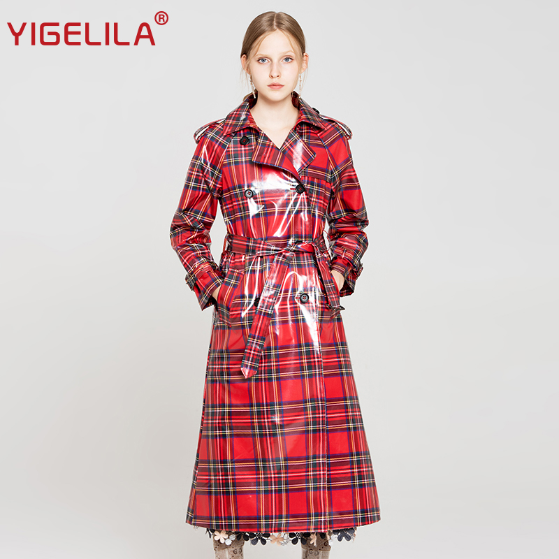 YIGELILA Fashion Women Plaid   Trench   Coat Autumn Turn-down Collar Double Breasted Belt Slim Long Waterproof Coat 9834