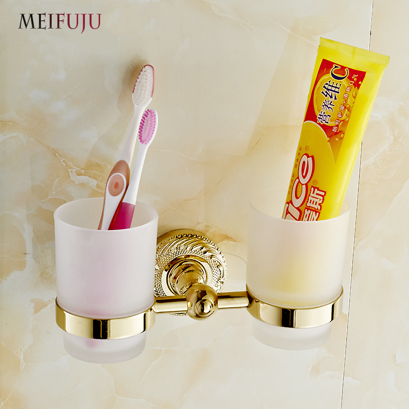 MEIFUJU New Modern Accessories Luxury European Style Golden Copper Toothbrush Tumbler&Cup Holder Wall Mount Bath Product new modern accessories luxury european style oil rubbed bronze metal toothbrush dual tumbler