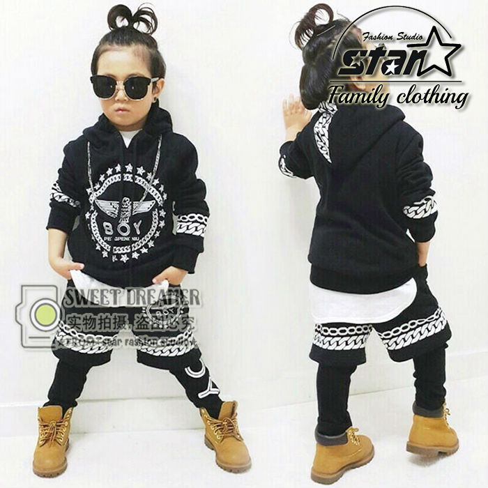 Popular New Spring Autumn Children Hip Hop Clothing Boys Girls Performance Clothing Sets Kids Sport Suits Kids Top & Pants