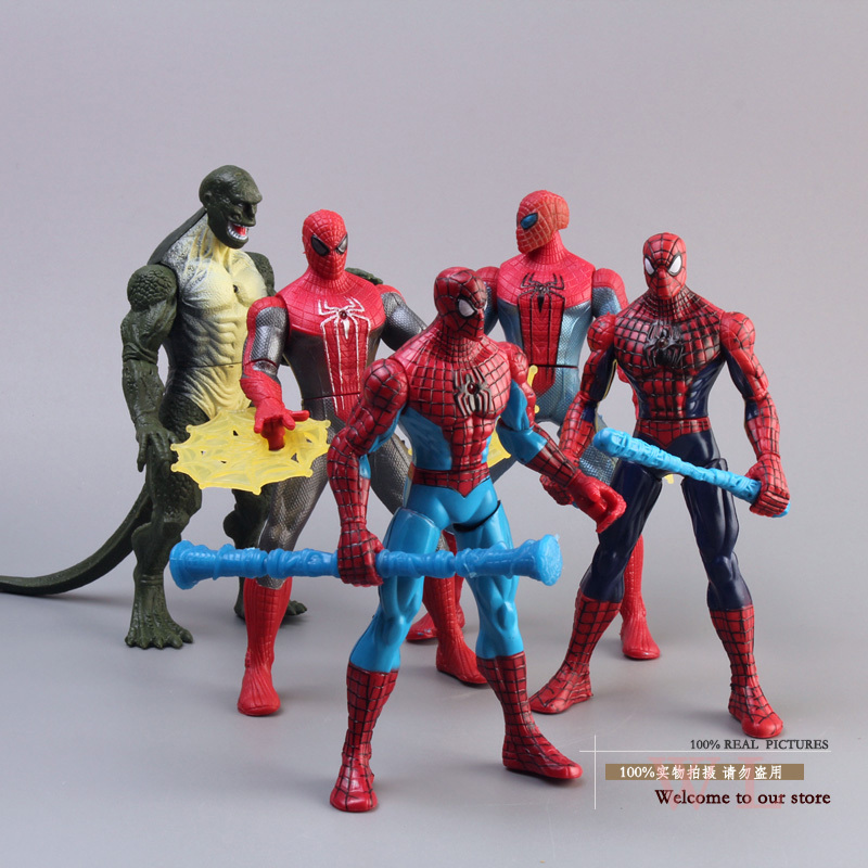 Free Shipping Marvel Spiderman The Amazing Spider-Man PVC Action Figure Collection Model Toys Dolls 5pcs/set  free shipping 6 spider man the amazing spiderman boxed 15cm pvc action figure collection model doll toy gift figma 199