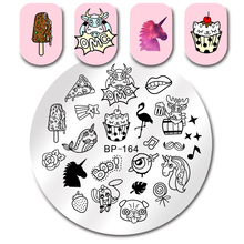 BORN PRETTY Unicorn Round Nail Stamping Plate Diamond Jewelry Necklace Flamingo Ice Cream Manicure Nail Art Decoration Plate