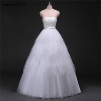 Real Picture Tulle A Line Wedding Dress 2017 Lace Up Back Strapless Vestido De Novia Sexy