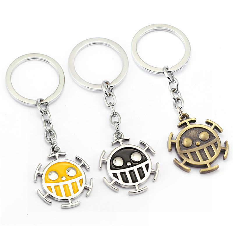 Anime One Piece Vintage Trafalgar Law Pendant Keychain Key Holder Women Bag Men Jewelry Action Figure Cosplay Toys image